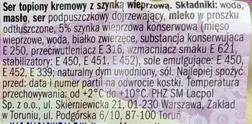 Ser topiony z szynką wieprzową - Inhaltsstoffe - pl