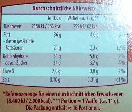 Schoko-Waffeln Zartbitter - Informations nutritionnelles - de