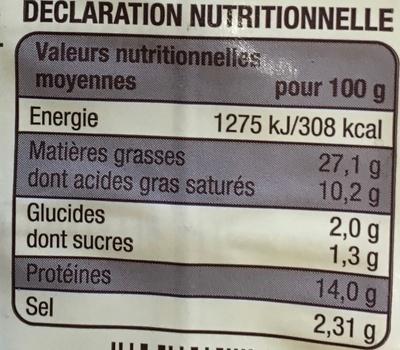 Cervelas à l'alsacienne - Informations nutritionnelles