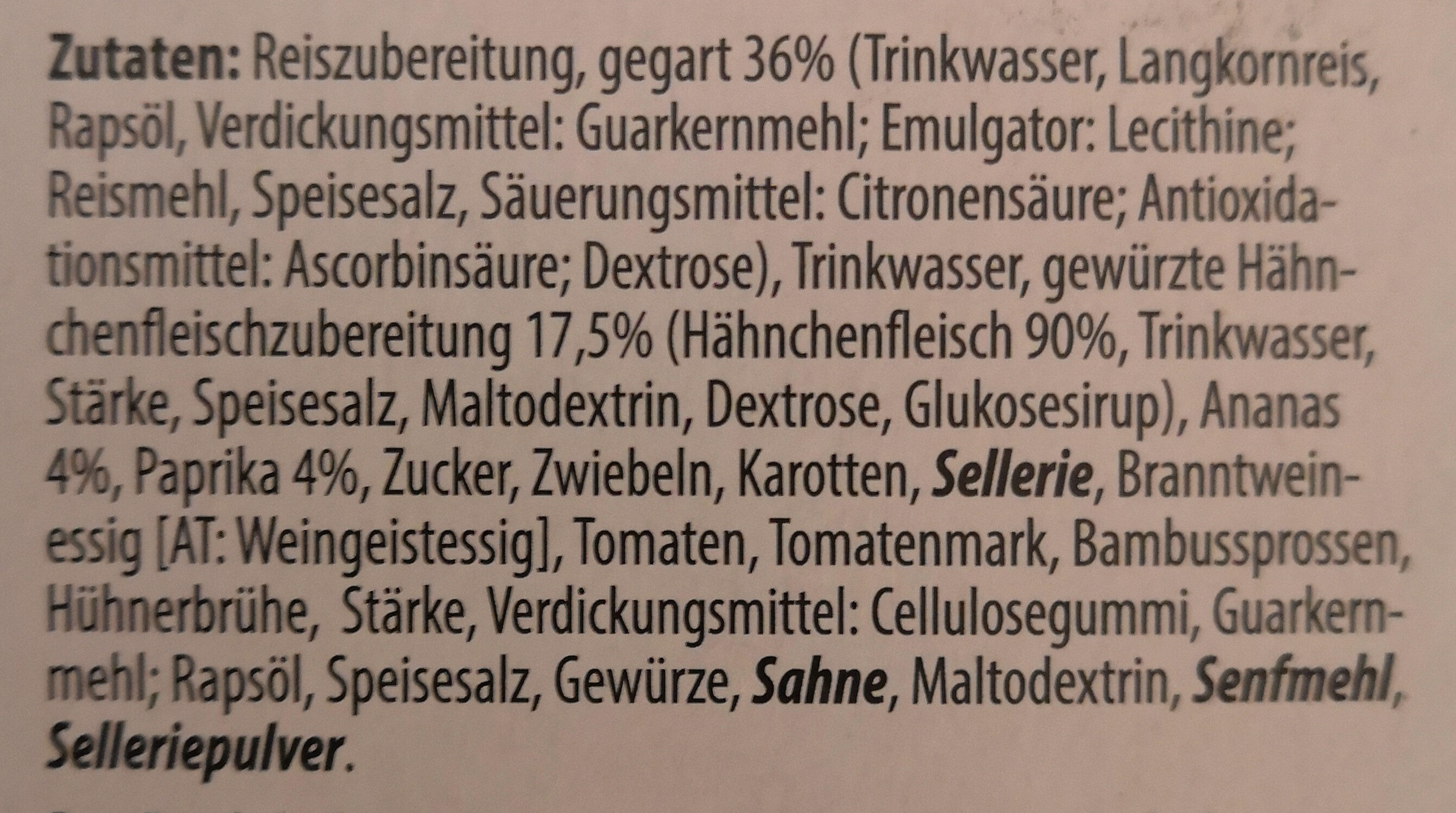 Huhn süss-sauer - Ingredients