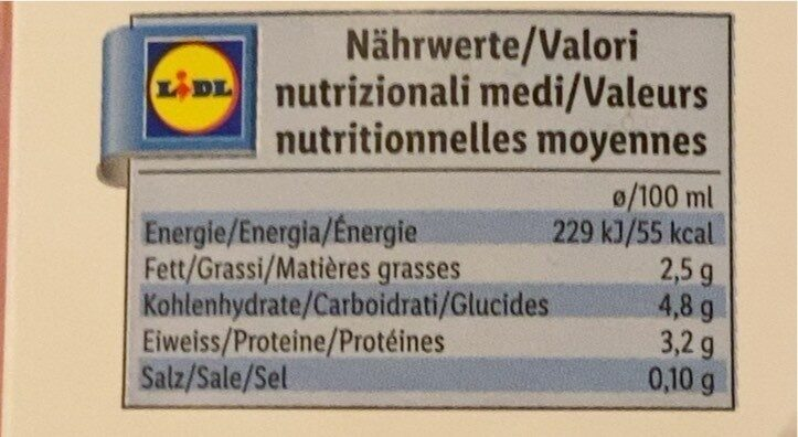 Milchdrink - Valori nutrizionali - fr