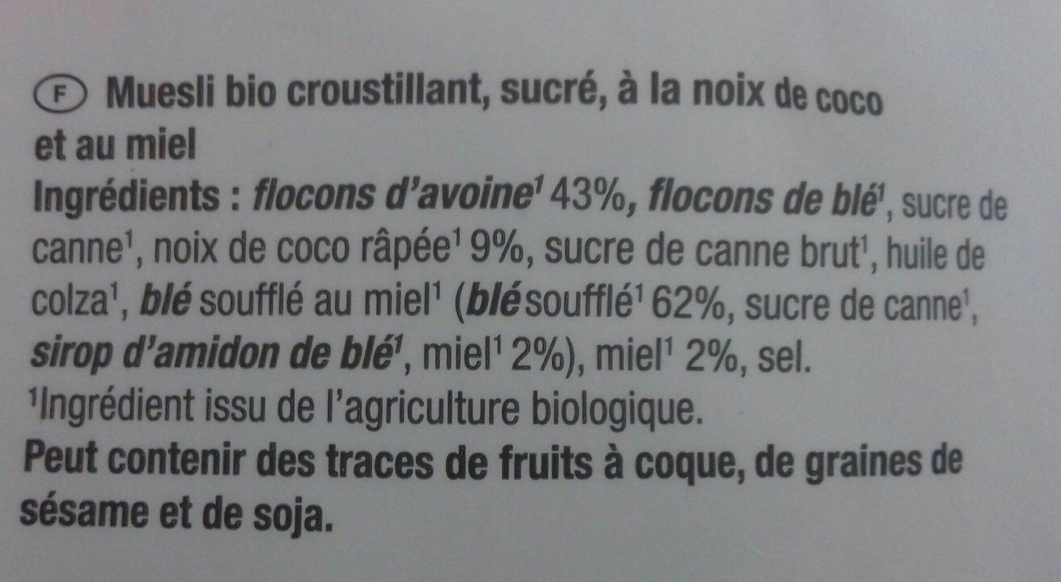 Muesli bio croustillant, sucré, à la noix de coco et au miel - Ingredienti - fr