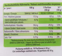 Muesli bio croustillant, sucré, à la noix de coco et au miel - Valori nutrizionali - fr
