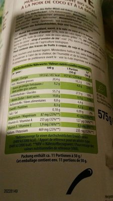 Bio crunchy muesli coco banane - Ingrédients - fr