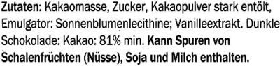 Edel-Bitter-Schokolade Arriba Superieur 81% Kakao - Ingredients - de