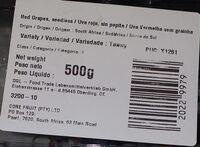 Uva Roja Seedless raisins rouge - Información nutricional - es