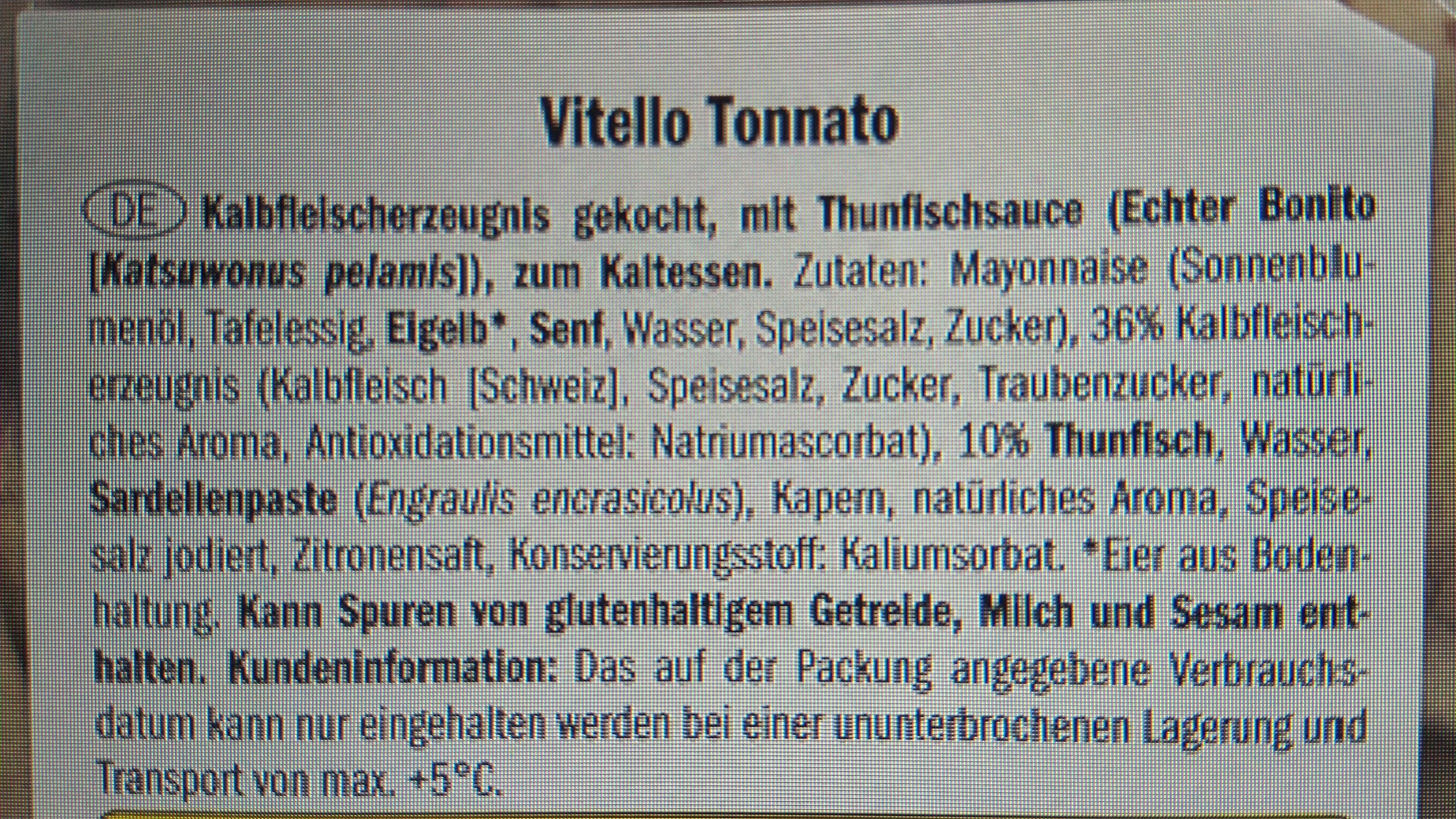 Vitello tonnato - Ingredienti - de