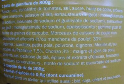 Paella Royale (Volaille, fruits de mer & Chorizo) - Ingredients - fr