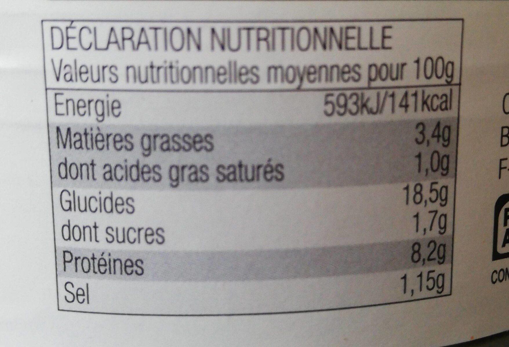 Paella Royale (Volaille, fruits de mer & Chorizo) - Nutrition facts - fr