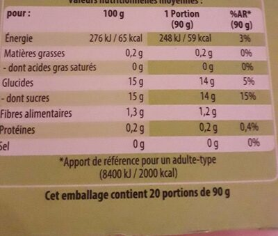 P'tite pom' - Informations nutritionnelles - fr