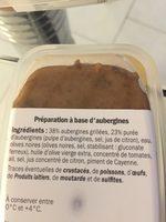 Caviar D'aubergine 100g - Ingrédients - fr