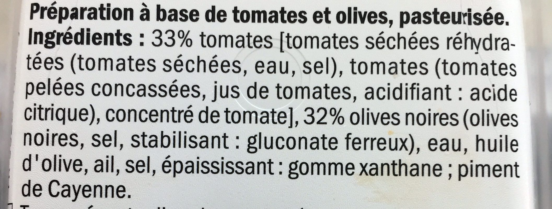 Tomate olive - Ingrédients - fr