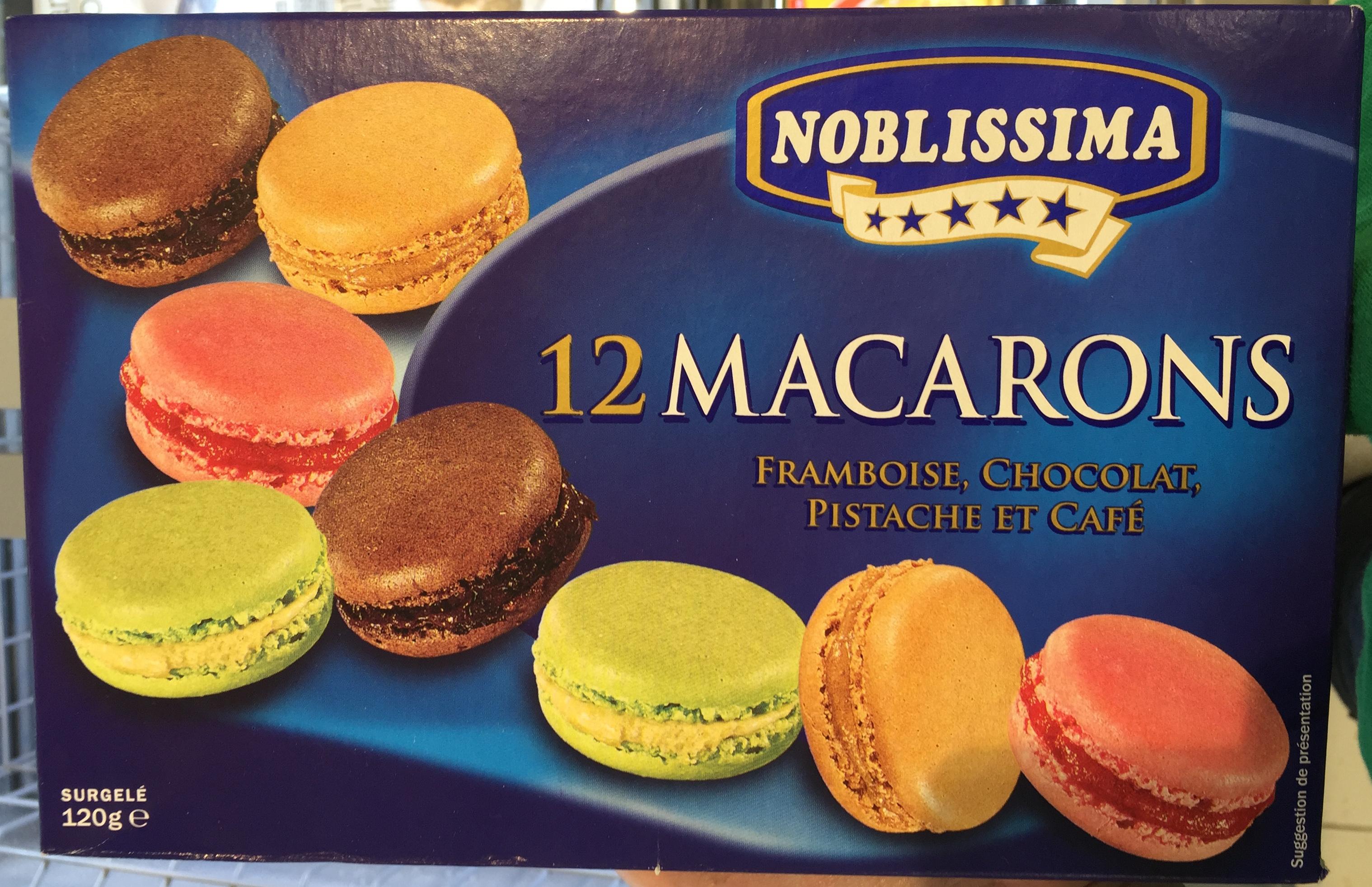 12 macarons Framboise, Chocolat, Pistache et Café - Product