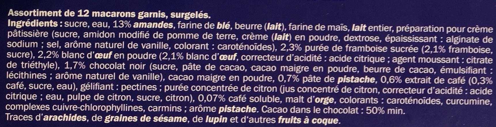 12 macarons Framboise, Chocolat, Pistache et Café - Ingredients