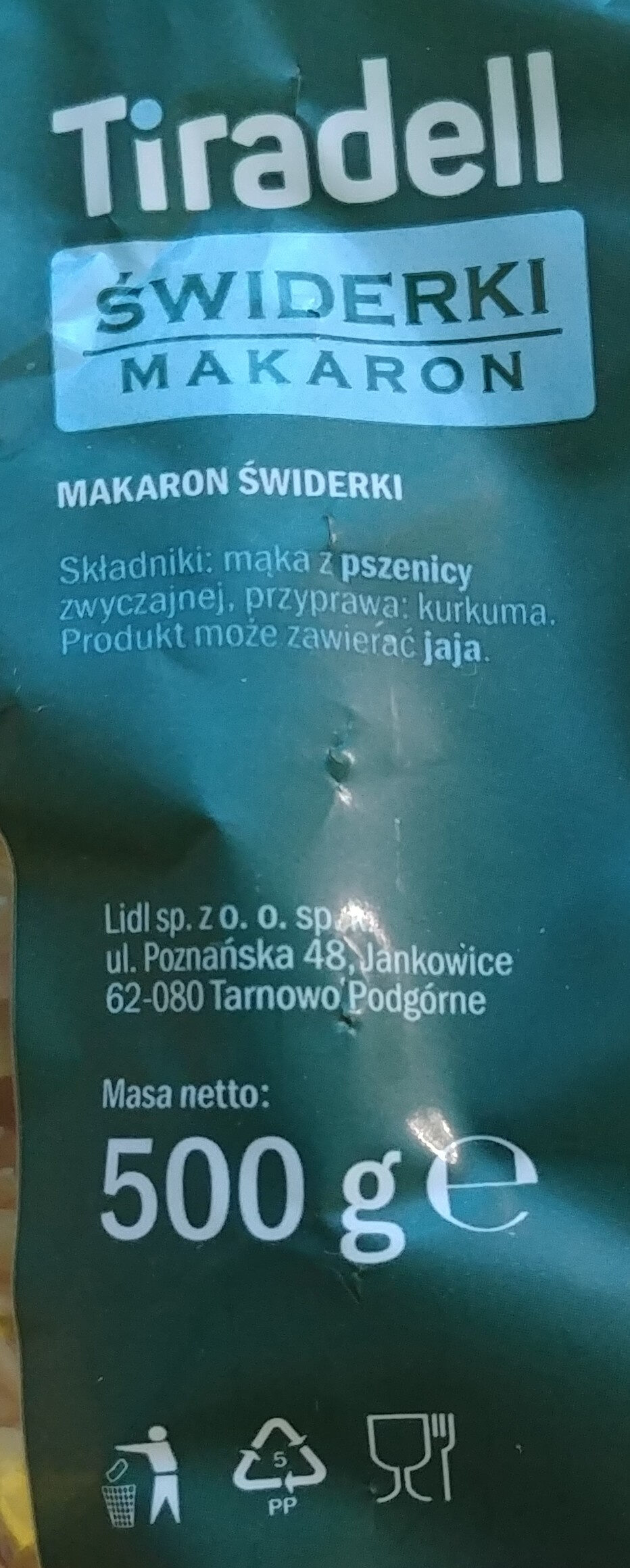 Makaron świderki - Ingrédients - pl