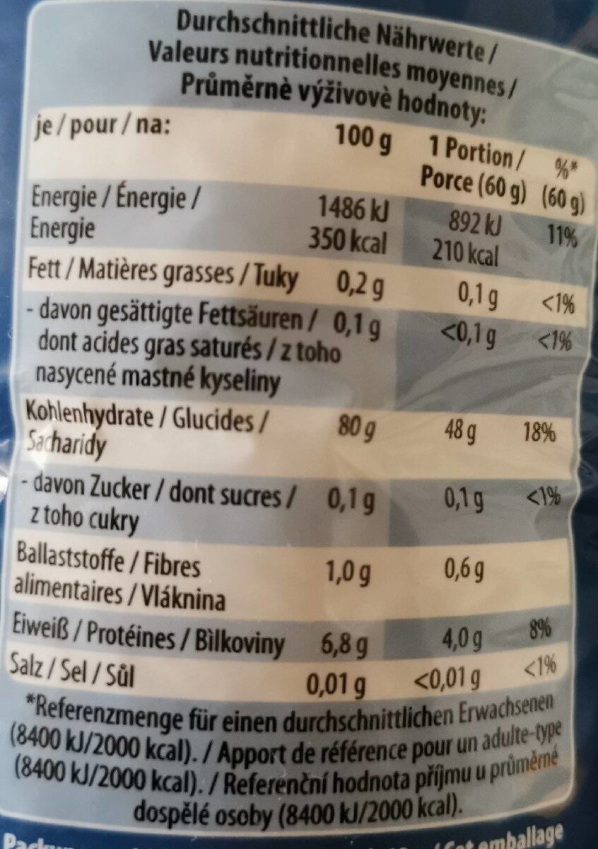 JASMIN REIS - Nutrition facts - de
