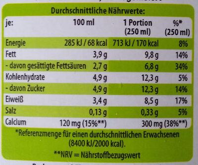 Bio H-Vollmilch - Nährwertangaben