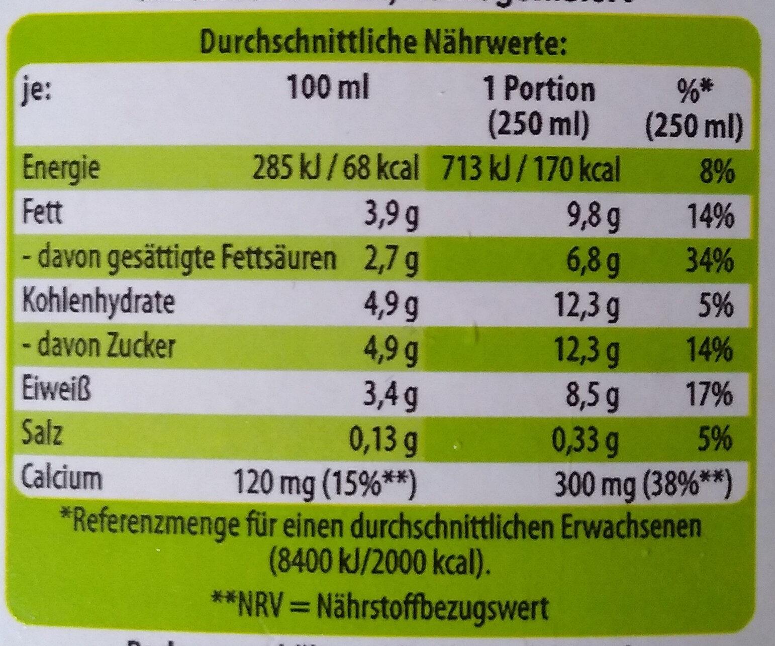 Bio H-Vollmilch - Nährwertangaben - de