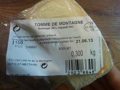 Tomme de montagne (28 % MG) - Produit - fr