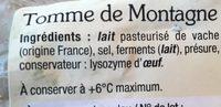 Tomme de montagne (28 % MG) - Informations nutritionnelles - fr