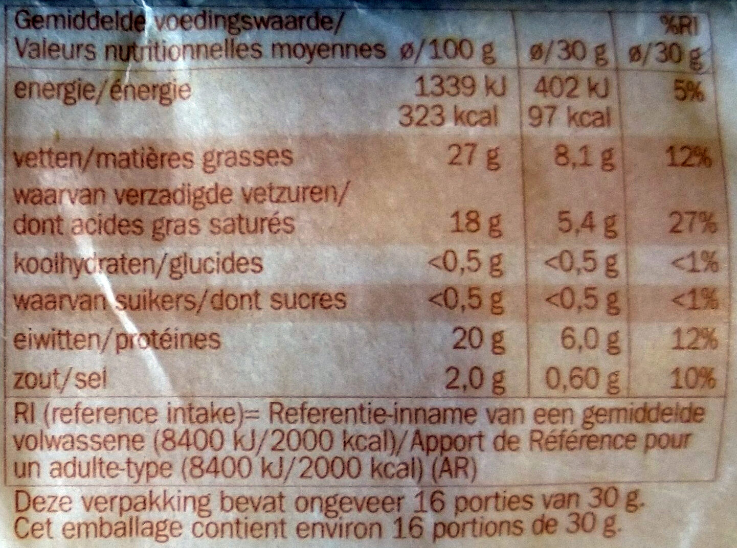 Fromage d'abbaye - Voedingswaarden