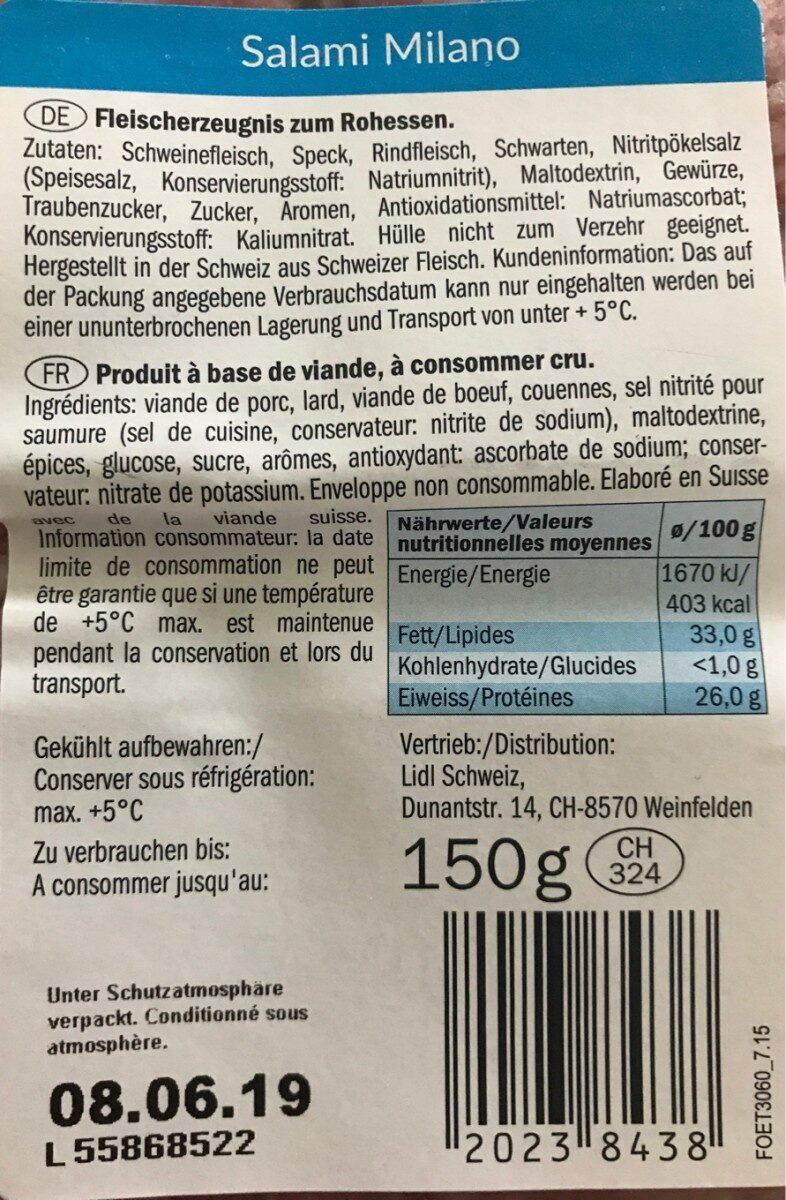 Salami Milano - Ingredienti - fr