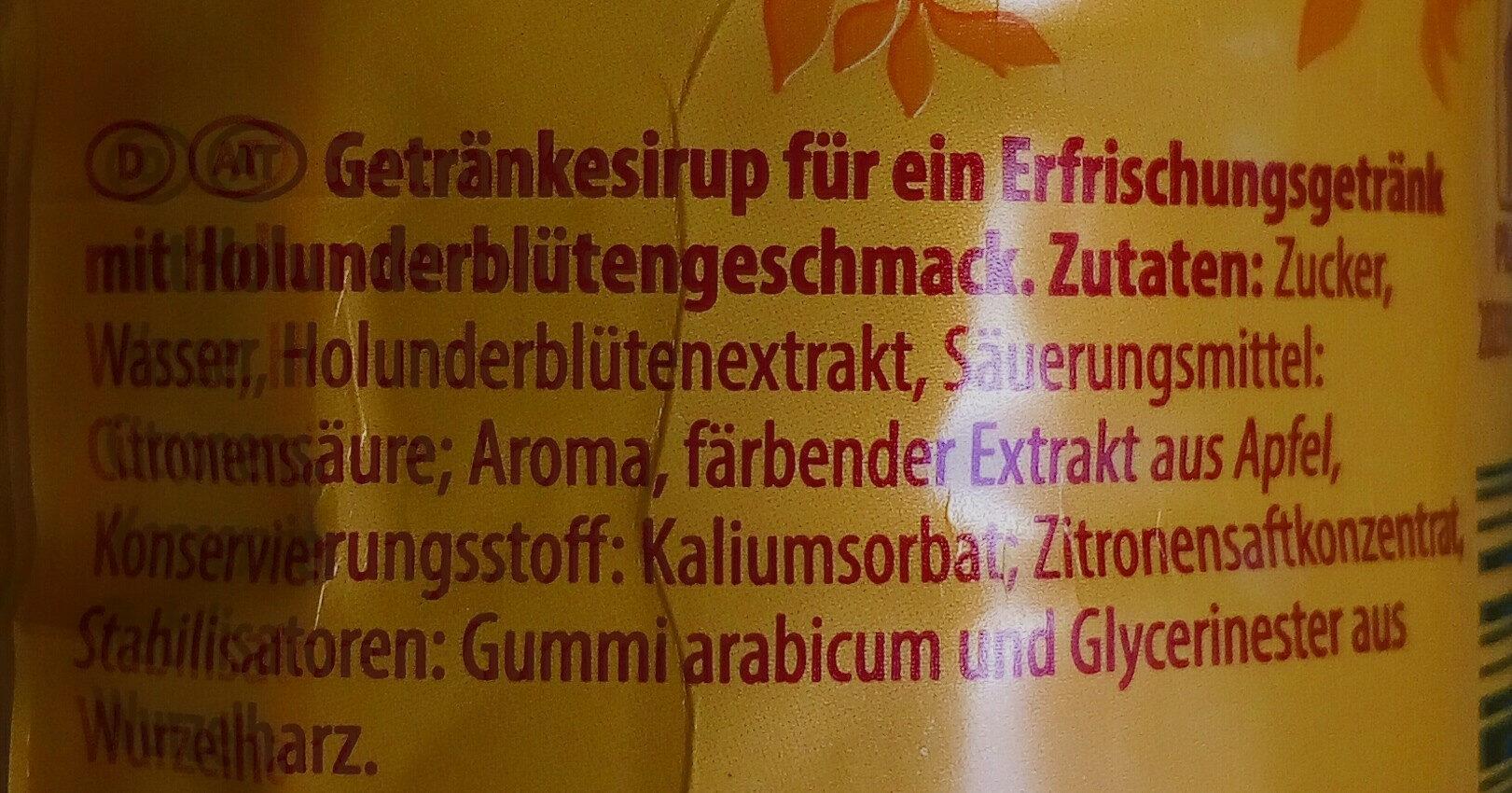 Sirup Holunderblüte - Inhaltsstoffe