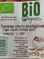 Tomates Cherry  Bio - Informations nutritionnelles