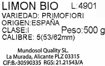 Limón Bio - Ingredientes