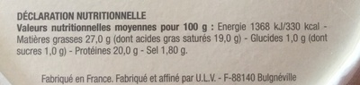 Munster-Geromé - Informations nutritionnelles - fr