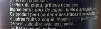 Cashews geröstet und gesalzen - Ingrédients