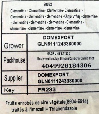 Clémentines - Ingrediënten - fr