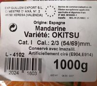 Mandarine - Ingrédients