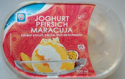 Eis mit Magermilchjoghurt und Maracujasorbet, mit Pfirsich-Maracujasauce und weißen Schokoladenstückchen - Product - de