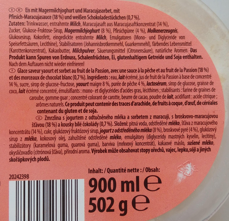 Eis mit Magermilchjoghurt und Maracujasorbet, mit Pfirsich-Maracujasauce und weißen Schokoladenstückchen - Ingrediënten - de