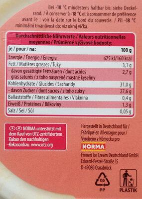 Eis mit Magermilchjoghurt und Maracujasorbet, mit Pfirsich-Maracujasauce und weißen Schokoladenstückchen - Voedingswaarden - de