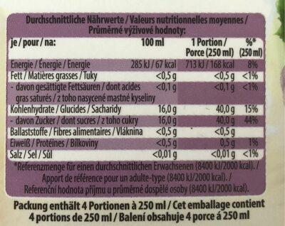 Traube 100% Premium Direktsaft - Voedingswaarden