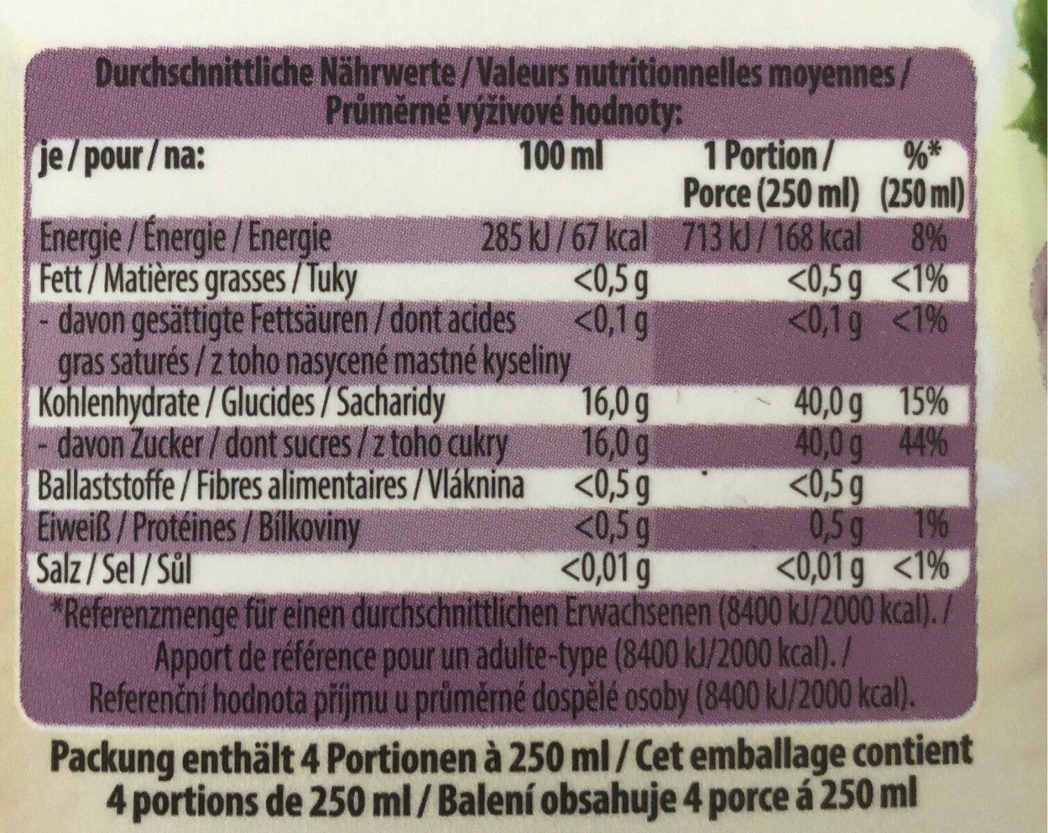 Traube 100% Premium Direktsaft - Voedingswaarden - de
