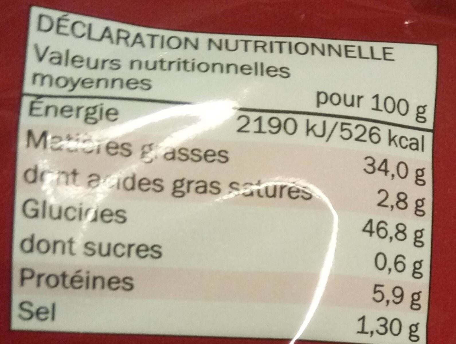 Nature chips classiques - Voedingswaarden