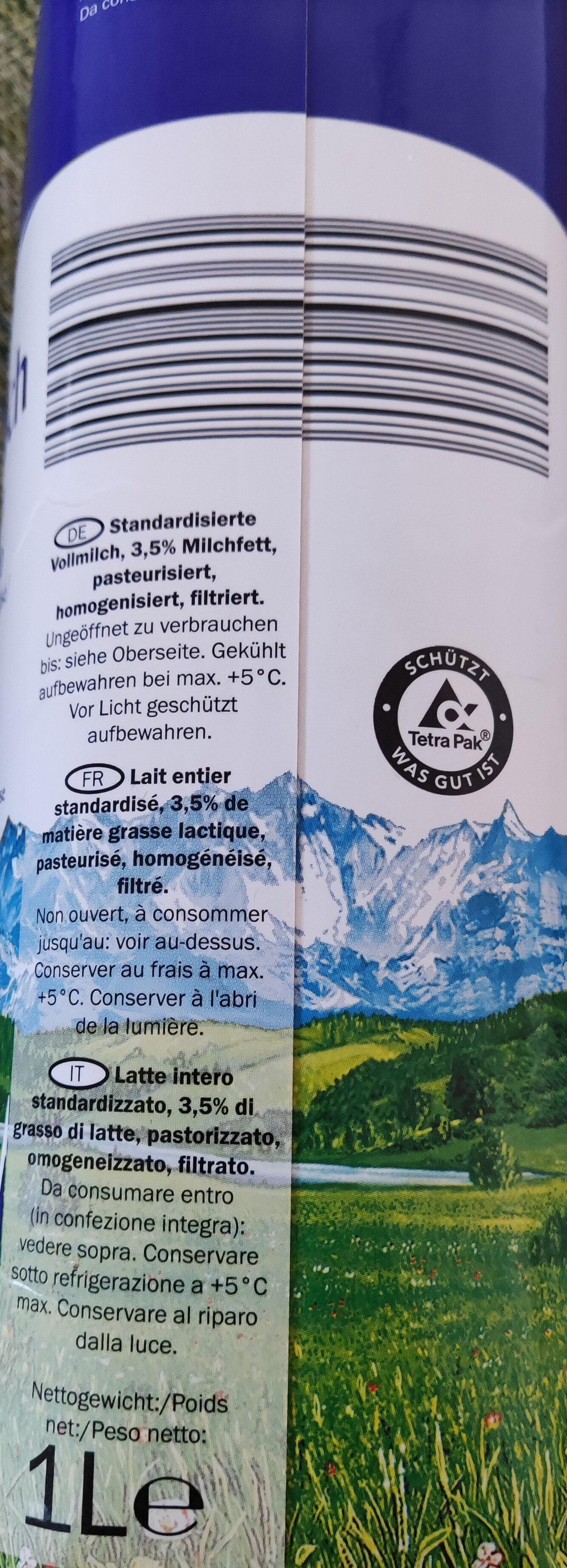 Vollmilch 3,5%, 3,5% - Ingrédients - fr