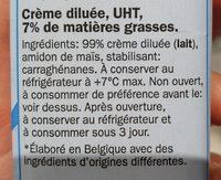 Milbona crème diluée 7%M.G - Ingrediënten - fr