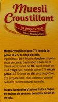 Muesli croustillant aux noix de pécan & au sirop d'érable - Ingredients - fr