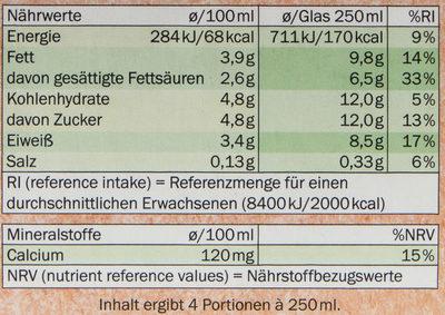 Bio Frische Voll-milch - Voedingswaarden - de