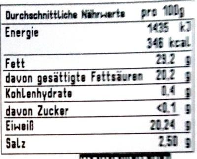 Gorgonzola DOP picante - Voedigswaarden
