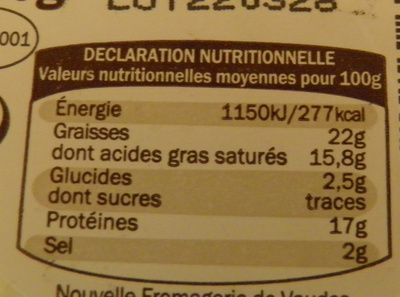 Chaource AOP (22% MG) - 250 g - Informations nutritionnelles