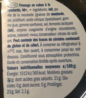 Fromage en cubes à la moutarde - Informations nutritionnelles