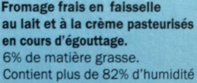 Fromage frais en Faisselle (6 % MG) - Ingrédients
