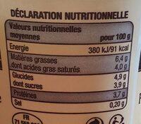 Faisselle de la Bresse - Informations nutritionnelles - fr
