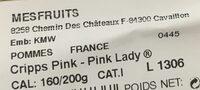 PINK LADY® POMMES BARQ 6 PIECES - Ingrediënten - fr