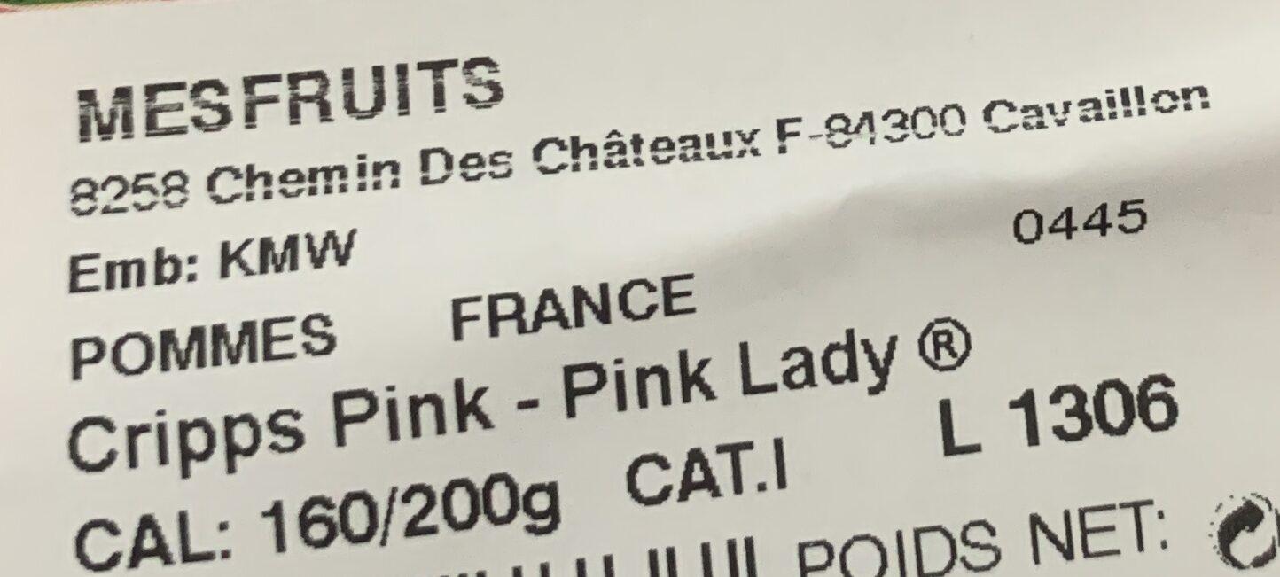 Pink lady - Ingredienti - fr